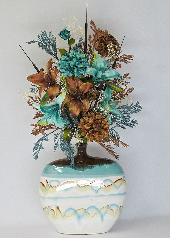 Turquoise And Brown Lilies And Dahlias Silk Flower Arrangement In Ceramic Vase Silk Floral