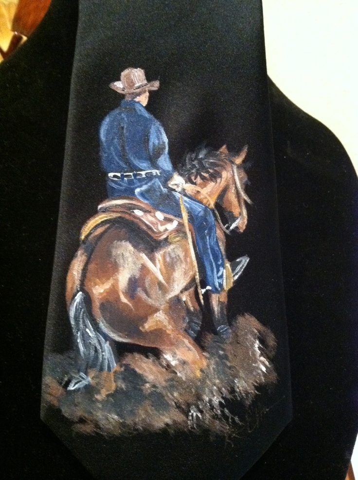 Black silk tie painting for Kallie Coleman