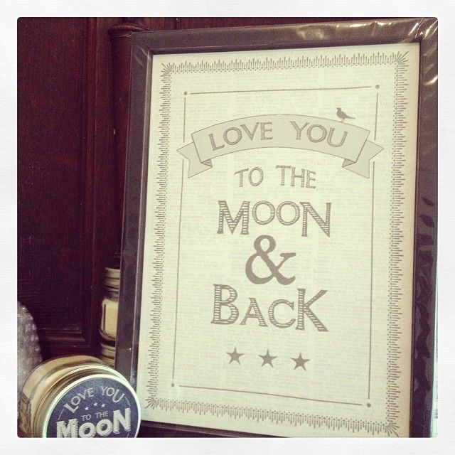 Large a4 framed print- new from East Of India Love you to the moon and back Black and