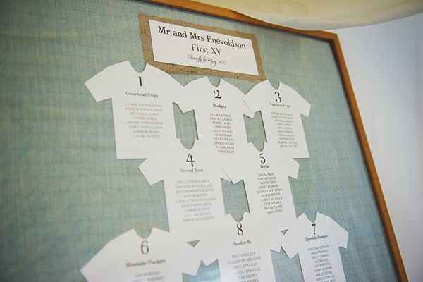 rugby themed table plan - Suzanne Neville Elegance For A Yorkshire and Downton Abbey Inspired Wedding