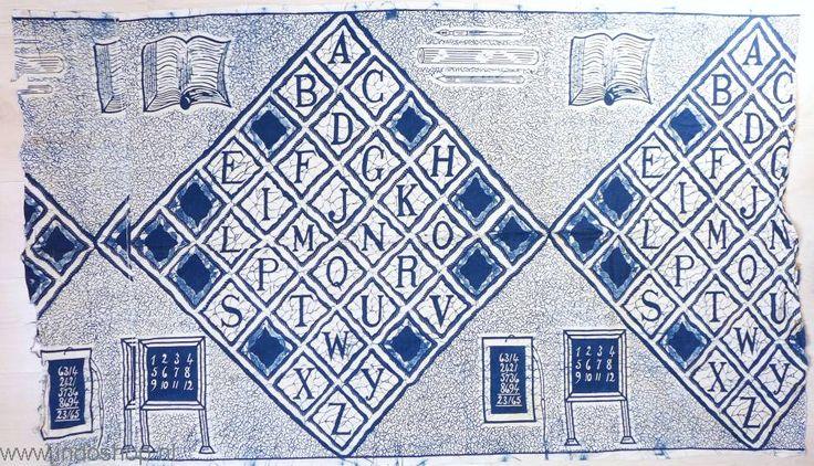 Ancient Batik, showing school items, like the alphabet, blackboard, pencils and cahiers. Java, 1940's
