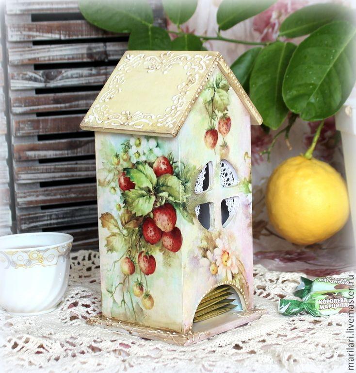 """Купить Чайный домик """"Клубничка-ромашка"""". - разноцветный, ягоды, ягоды и листья, лето, ромашки"""