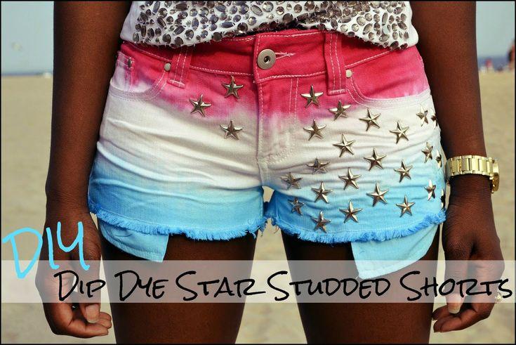 DIY Dip Dye Star Studded Shorts (UPDATED)
