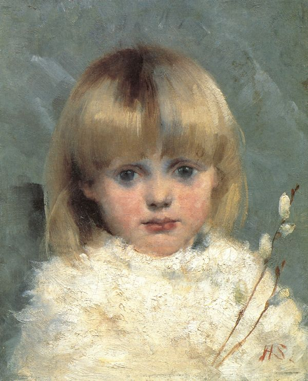 """Helene Schjerfbeck (July 10, 1862 – January 28, 1946) """"Girl with Pussy Willows"""" 1886 oil on canvas 27x22cm"""