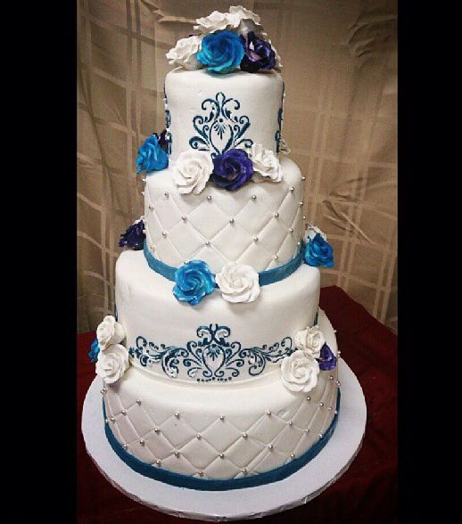 4 Tier Wedding Cake Blue With Royal Quinceaera Ideas