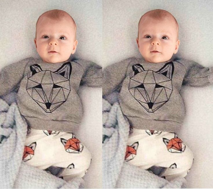 2pcs Newborn Toddler Kids Baby Girls Boys T-shirt Tops+Pants Outfits Clothes Set
