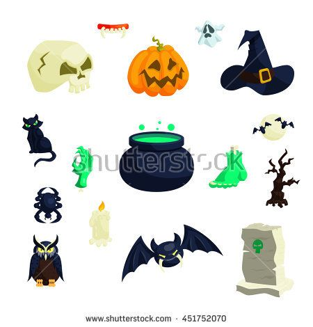 Halloween icons in cartoon style. 31 october holiday set collection isolated illustration