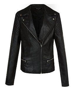 Tall Black Quilted Panel Biker Jacket | New Look  Tall fitting leather-look (thus suitable for vegetarians!) jacket, so no more having to pretend I'm wearing a cropped jacket!