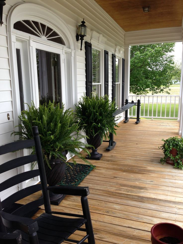 Trex front porch front porch love this rustic look but for Rustic front porch