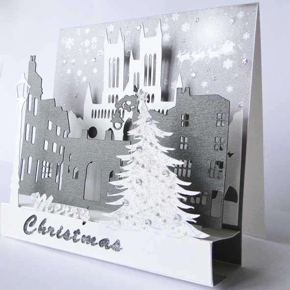 A luxury pop up Christmas card based on the historial Cathdral quarter of Lincoln