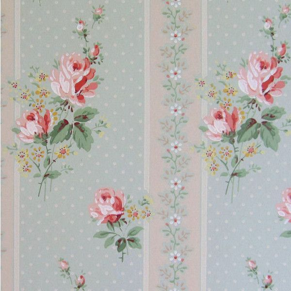 6 Vintage FLORAL Wallpapers c1940s Our Cottage Garden ($4) ❤ liked on Polyvore