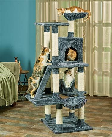 This Oversized 6-Level Cat Play Tower will give your feline family member a place to play, scratch or nap in one place. It features 10 scratching posts, sisal-c