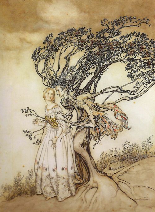 An Arthur Rackham illustration for The Old Woman in the Wood from The Grimm's Fairy Tales.