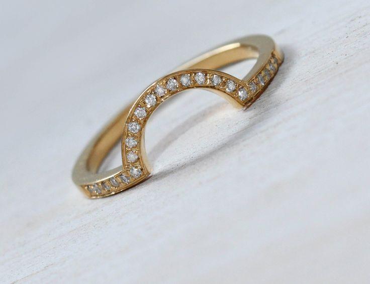 Solid Gold Ring Gold Diamond Ring Natural Diamond Ring Half