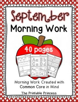 40 pages of September morning work for Kindergarten (20 math pages, 20 reading pages)