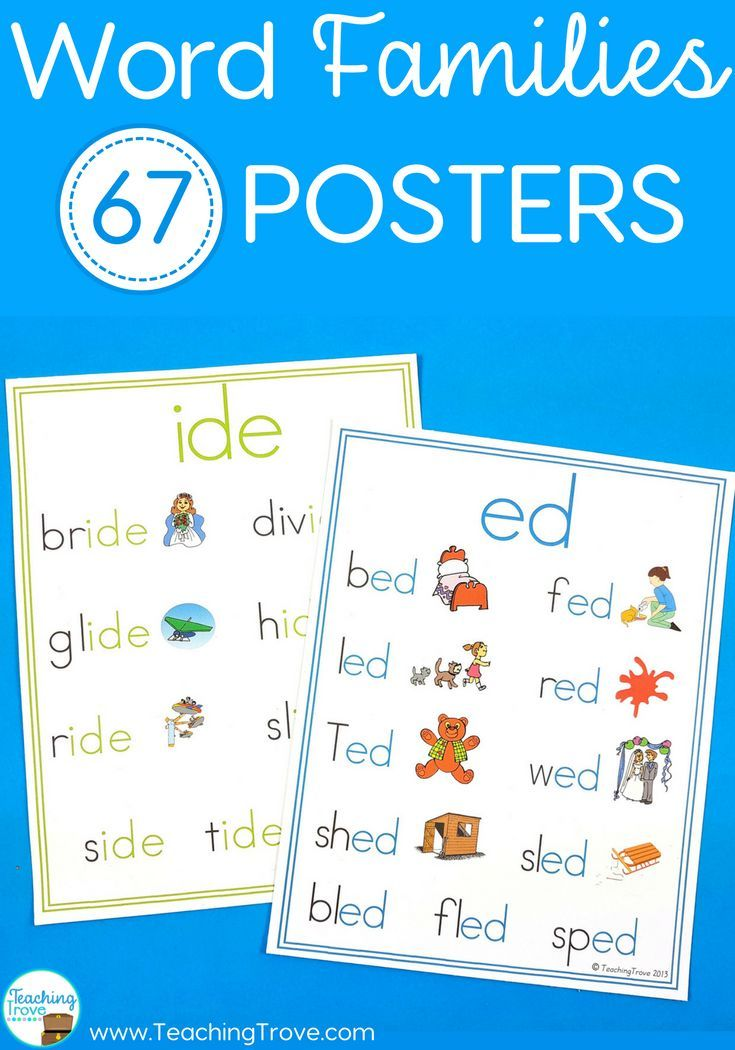 Word Family Posters with 67 Different Word Families