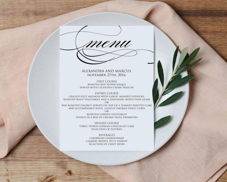 Wedding Menu Printable Template - Printable Menu - DIY Printable PDF Instant Download, Formal, DIY, Dinner Menu Printable, WBWD6