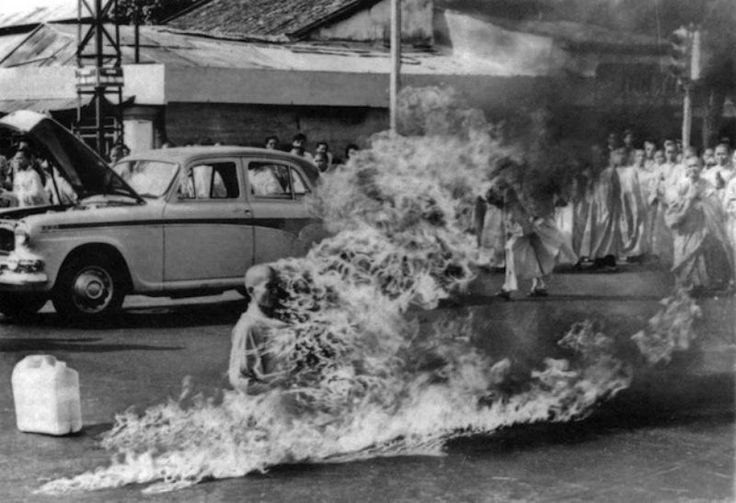 A monk in Vietnam self immolates in a protest against persecution of Buddhists by South Vietnam's Ngo Dinh Diem administration.