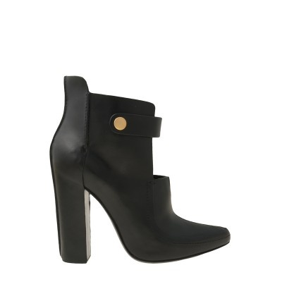 """Closed-toe mary jane bootie with a chunky steep heel and raised seems. Yellow gold snap closure.  Heel measures 4.3"""". 100% Leather. Imported. Please note, this style runs small. We recommend to size up. Sizes 36-39. Color: Black"""