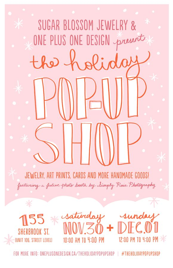 The Holiday Pop Up Shop Lettering Event Poster Design Pop Up
