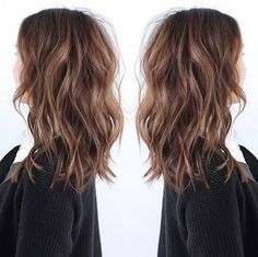 LOB hairstyle the most fashion choice of 2015~ nice brown messy hair with natural waves   thebeautyspotqld.com.au