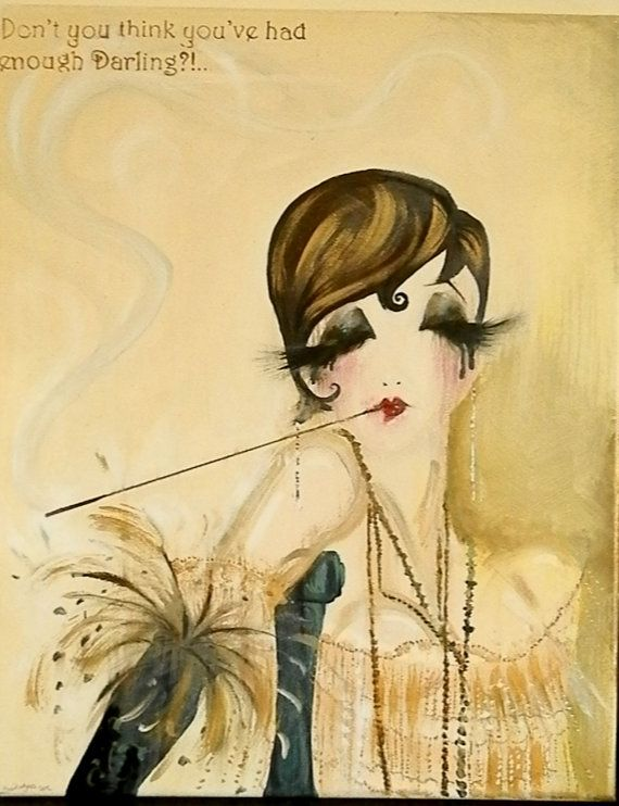 Enough Daaarling! Funny 20s Great Gatsby Chicago Flapper style Painting. Woman in deco dress cigarete holder. Fashion Illustration Art Gift on Etsy, $80.00