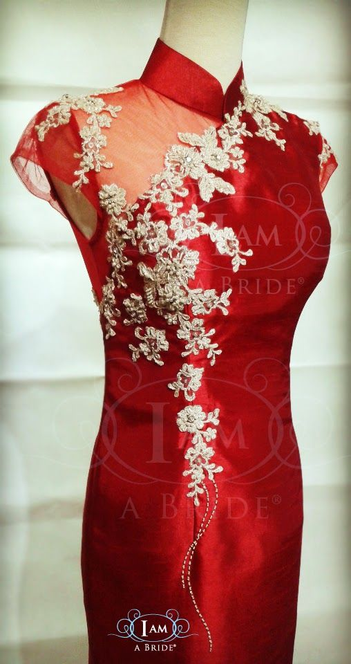 Modern Cheongsam Custom Make with One Off Shoulder See-thru Netting for Destination UK Bride
