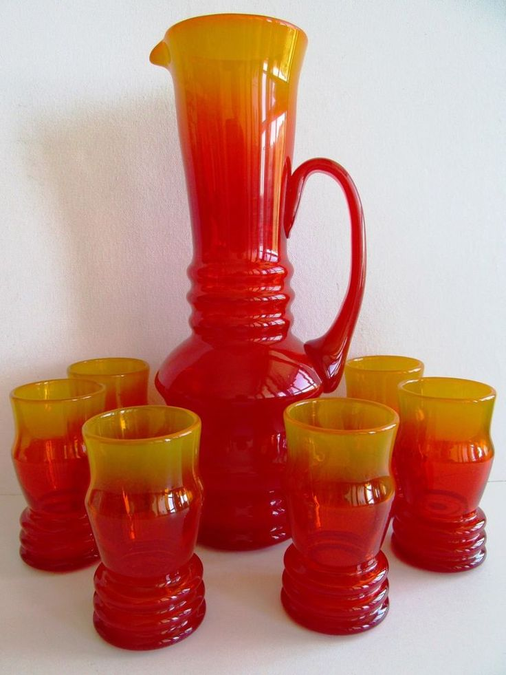 Art Deco Style Jugs Art Deco Czech/bohemian Set Water Pitcher/jug & 6 Glasses