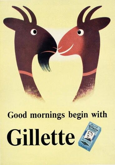 Gillette, advertisement by Tom Eckersley, early 1950s