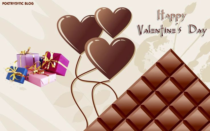 Happy Valentines Day Dairy Milk Chocolate Brown Colour Hearts Wishes of Valentiens Day eCard and HD Wallpaper