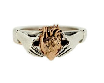 Anatomical Heart stacking Claddagh Ring in by MetalCoutureBridal