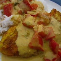 Brazilian Chicken with Coconut Milk. We subbed pumpkin puree for the tomatoes and jalapenos, and it was really good!