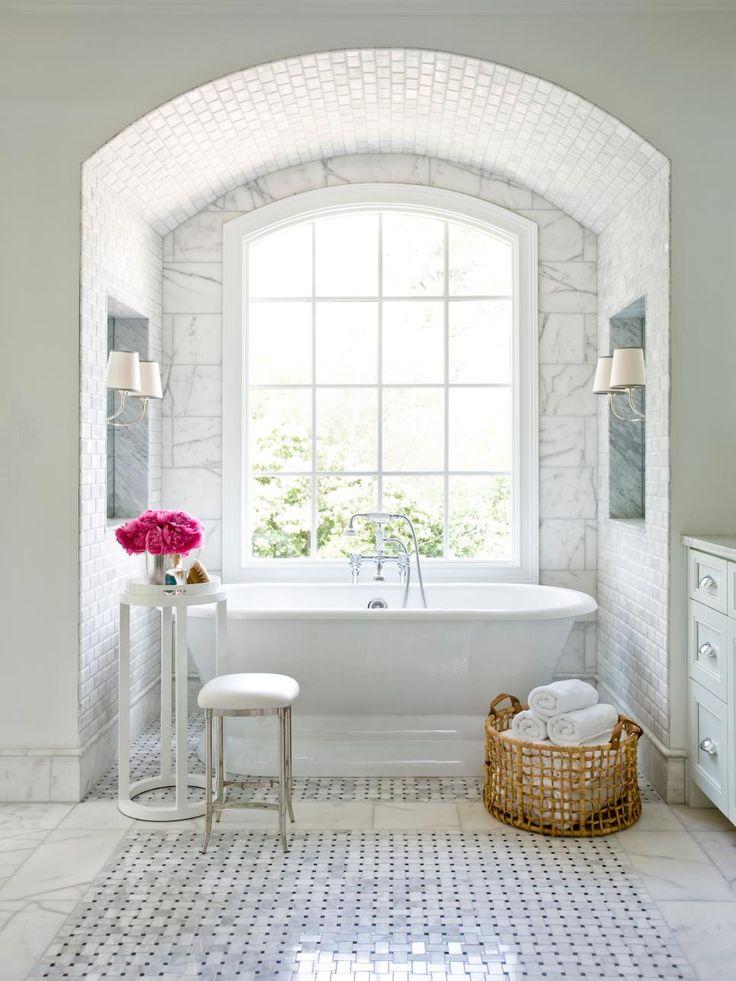 Bathroom:Wicker Basket Glass Window Wall Lamp White Stone Wall White Ceramic  Floor White Towels Part 56