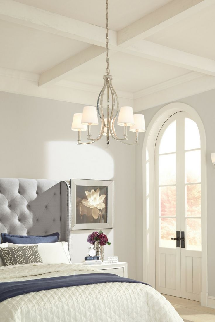 39 best bedroom lighting ideas images on pinterest bedroom inspired by the craftsmanship of fine jewelry a crystal inlay is coupled with polished nickel finish and white shantung silk shades in the pave 5 light