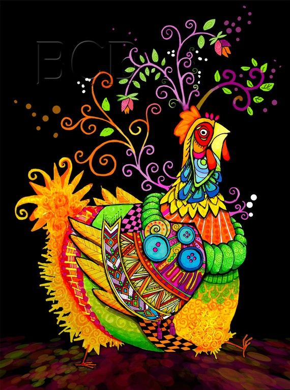 Aunty Chicken Stepping Out by BrookeConnorDesign on Etsy.