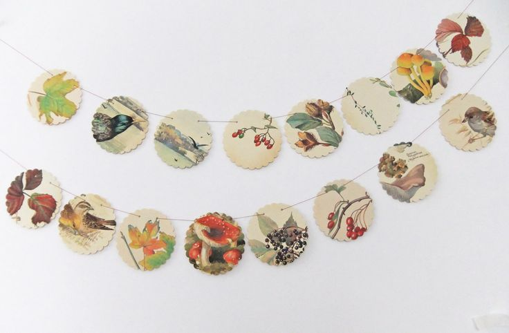 Autumn bunting, Fall Garland, fall wedding, recycled book,  upcycled scalloped garland , Country Diary of an Edwardian Lady - wedding decor by PeonyandThistle on Etsy https://www.etsy.com/uk/listing/103893744/autumn-bunting-fall-garland-fall-wedding