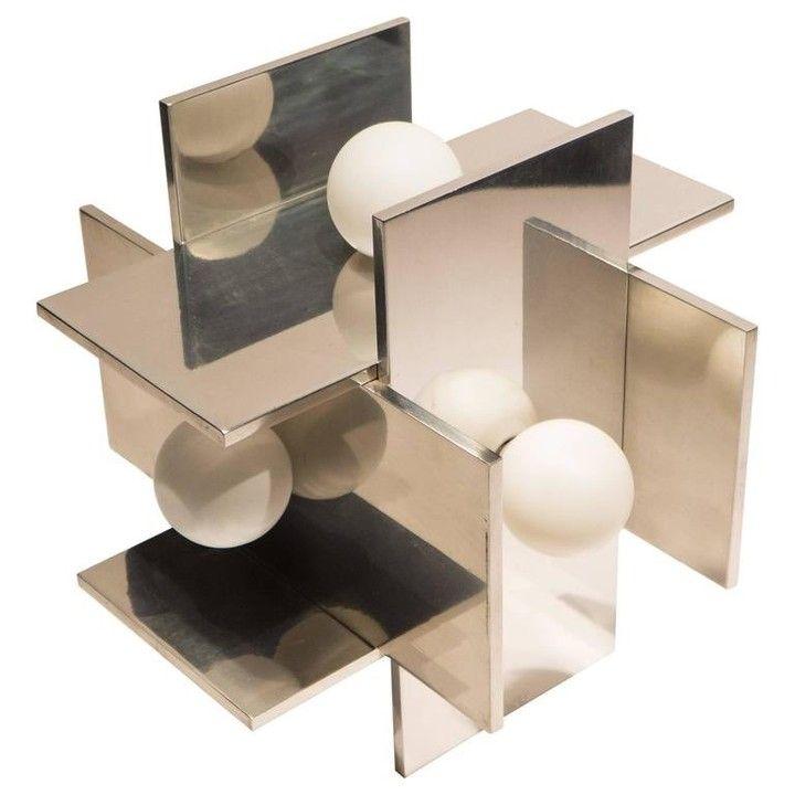 @weinbergmodern Constructivist aluminum table lamp by Paul Mayen for Habitat, circa 1970
