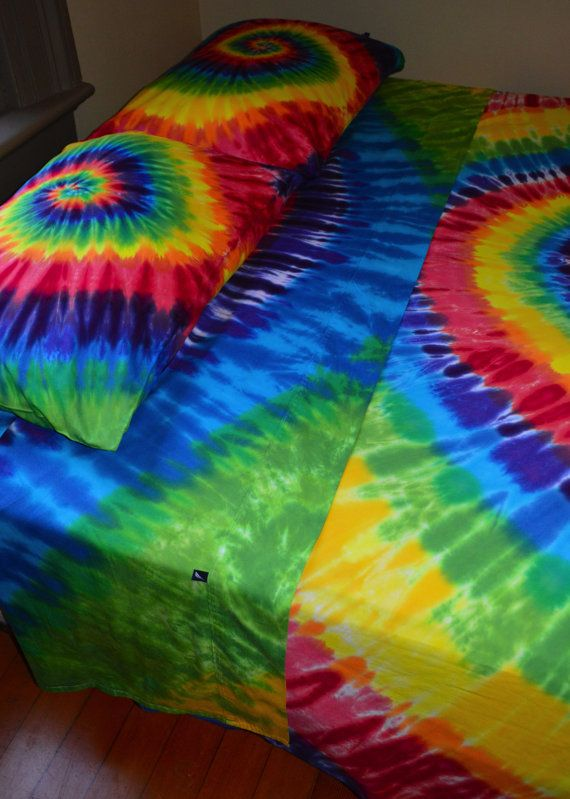 Hand Dyed Twin Sheet Set In Vibrant Rainbow Tie  colors by wildflowerdyes.com
