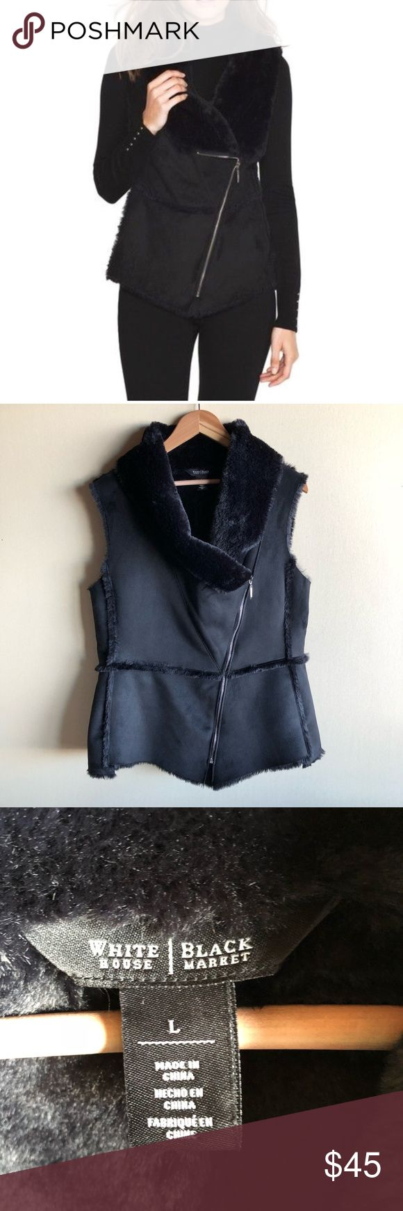 "White House Black Market faux shearling zip vest Super soft and cozy black vest by WHBM in faux shearling and lined in faux fur. Excellent condition! Measures 21"" from underarm to underarm and 27"" long. ""Our faux shearling vest is sure to be your favorite finishing touch for dressed up or down looks— a cozy layer when paired with a long sleeve tee and distressed denim or a flowy pant and stiletto boots. Polyester. Dry clean."" White House Black Market Jackets & Coats Vests"