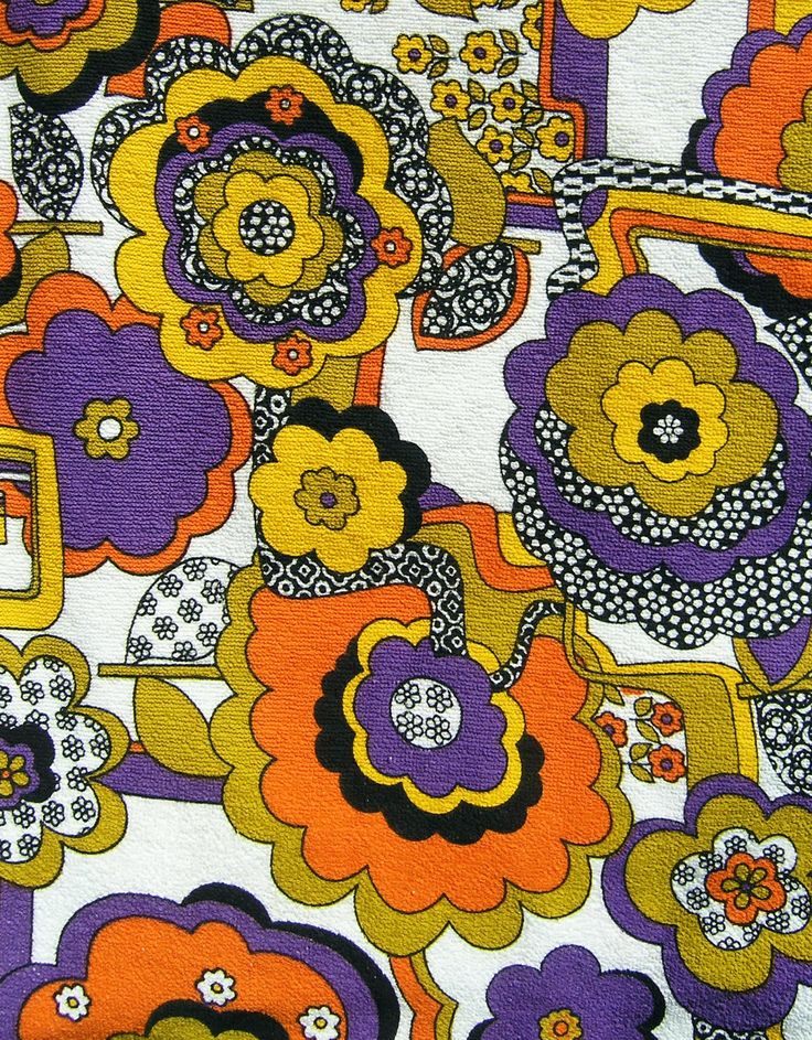 Funky 70s Floral Retro Beach Towel Changing Room, Vintage Terrycloth, 1960s 1970s Terrycloth Towel Fabric. $27.99, via Etsy.
