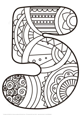 Number 5 Zentangle coloring page from Zentangle Numbers category. Select from 21162 printable crafts of cartoons, nature, animals, Bible and…