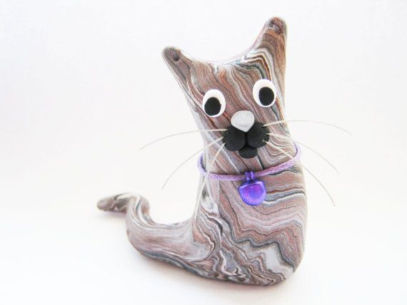 Polymer Clay Cat Sculpture Marbled Figurine Ornament - Alfie - Calico OOAK