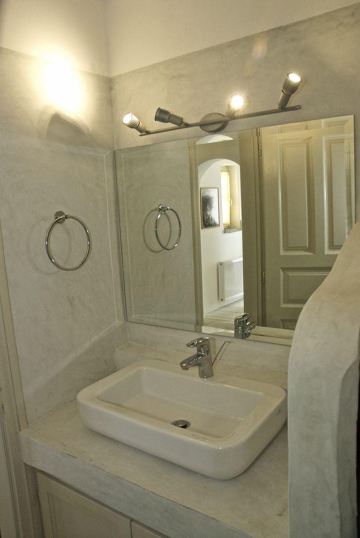St. George, Antiparos island, Greece. Cement mortar in a traditional built bathroom.