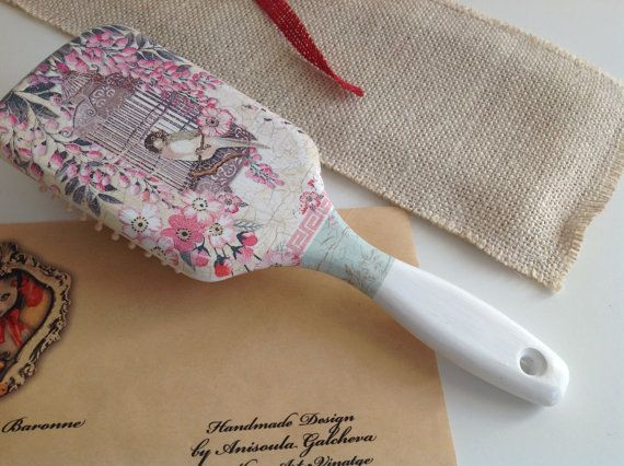 Vintage Wooden Decoupaged Hair Brush Shabby by MadameLaBaronneCat