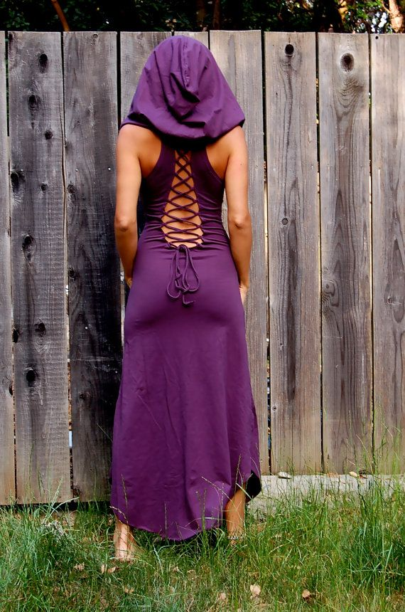 Etsy Transaction - Nienna Hood Dress - Lace Up Open Back - Elven Sexy Hippie Dress - Bohemian Princess