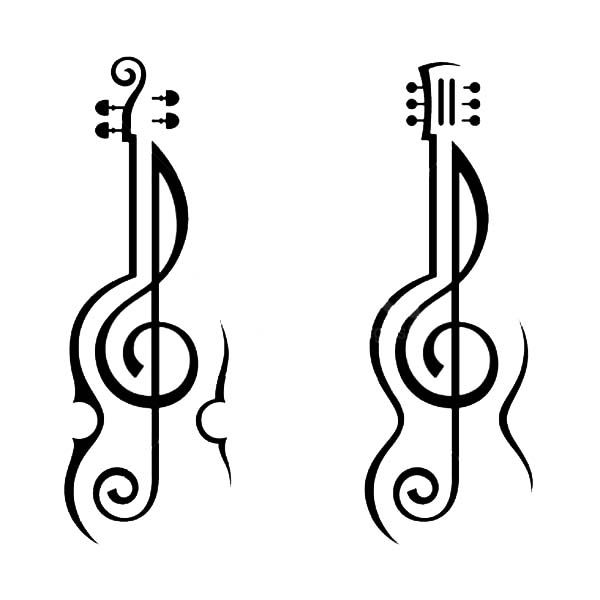 Treble Clef, : Violin and Guitar Treble Clef Coloring Page