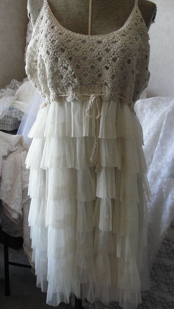 shabby chic mori girl gypsy boho crochet lace beach wedding tulle gown kleidung. Black Bedroom Furniture Sets. Home Design Ideas