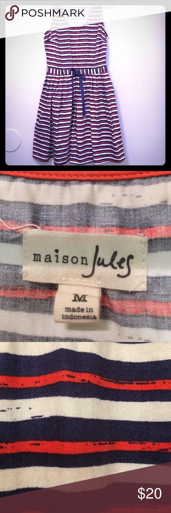 Maison Jules dress Navy striped dress with draw string- in good used condition. Maison Jules Dresses Mini