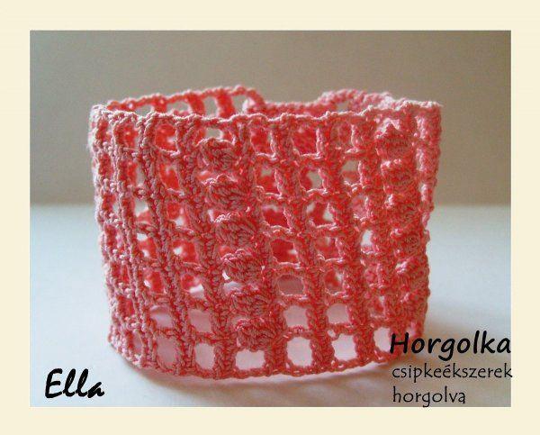 Ella - rózsaszín horgolt karkötő