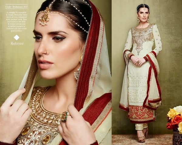Superbly designed Beige Georgette Straight cut Plazo Style Salwar suit with heavy embroidery and hand work done. Along with Matching Santoon Bottom and Chiffon Duppatta.